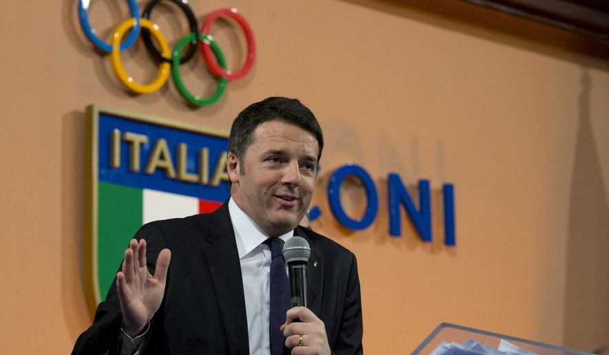 "Italian Premier Matteo Renzi delivers his speech at Italian Olympic Committee headquarters in Rome, Monday, Dec. 15, 2014. Renzi says Rome will bid for the 2024 Summer Olympics. He says ""the Italian government, together with CONI, is ready for this project."" The move comes with Italy's economy still stagnant and amid a widening corruption and mafia scandal in the capital. Italy planned to bid for the 2020 Olympics but the project was scrapped after then-premier Mario Monti refused to provide financial backing. The 2024 host will be chosen in 2017. (AP Photo/Andrew Medichini)"