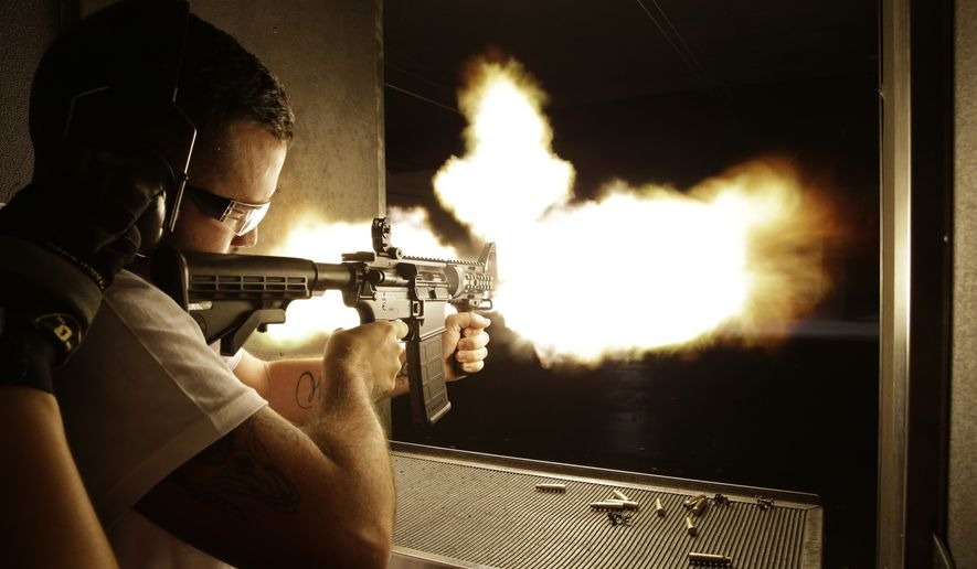 High end gun range similar to this in Las Vegas, NV, opened in Prince William County. (AP Photo/John Locher)