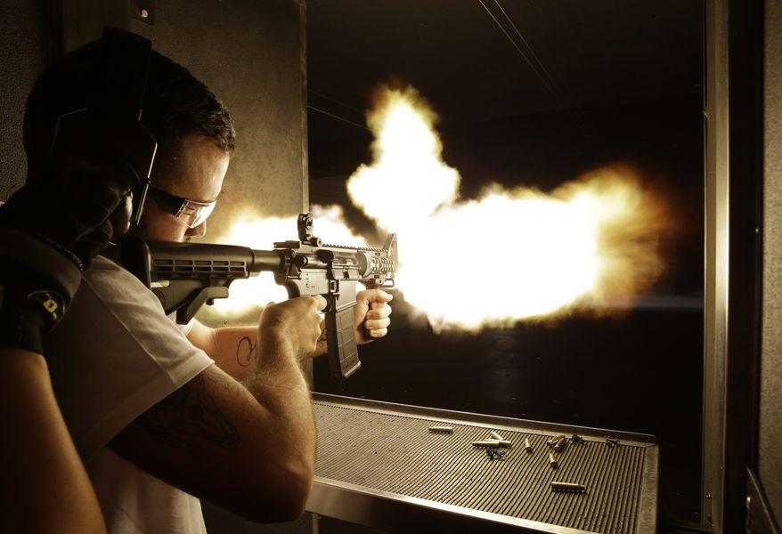 High end gun range similar to this in Las Vegas, NV, opened in Prince William County. (AP Photo/John Locher)