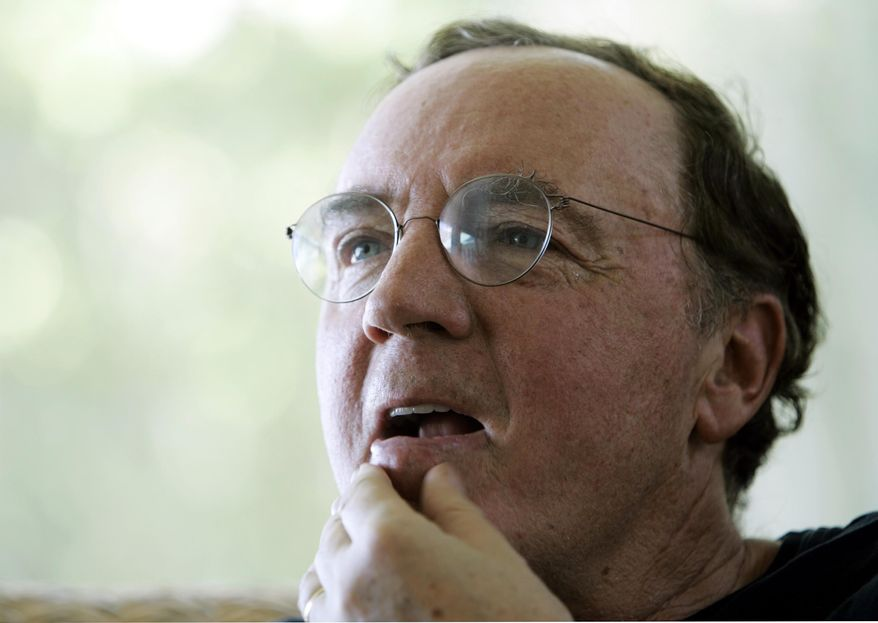 FILE - In this May 3, 2006, file photo, author James Patterson contemplates a question during an interview at his home overlooking the Intracoastal Waterway in Palm Beach, Fla. Patterson announced Monday, Dec. 15, 2014, that he has given $473,000 to 81 independent sellers around the country in the third and final round of his campaign to keep local bookstores in business. (AP Photo/Wilfredo Lee, File)