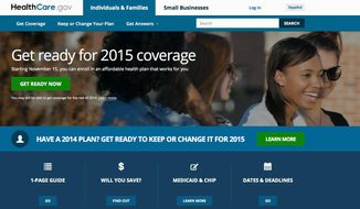 This Oct. 15, 2014, file photo is a screen shot of the home page of HealthCare.gov, a federal government website managed by the U.S. Centers for Medicare & Medicaid Service. (AP Photo/File)