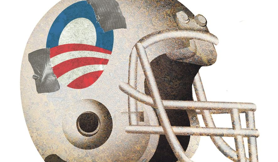 Illustration on Obama's meddling with the NFL by Alexander Hunter/The Washington Times
