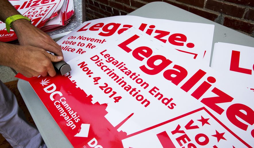 In this Oct. 9, 2014, file photo, Adam Eidinger, chairman of the DC Cannabis Campaign, works on posters encouraging people to vote yes on DC Ballot Initiative 71 to legalize small amounts of marijuana for personal use, in Washington. (AP Photo/Jacquelyn Martin, File)
