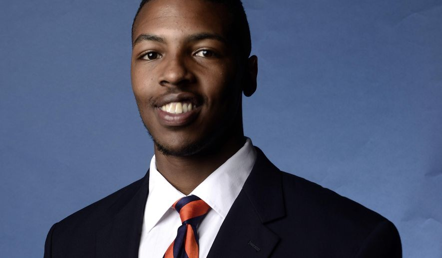 FILE - This undated filer shows a portrait provided by Auburn University of Auburn football player Jakell Lenard Mitchell. The shooting death of player Jakell Mitchell is just the latest hard hit absorbed by the Auburn football team in the past few years.  (AP Photo/Auburn University)