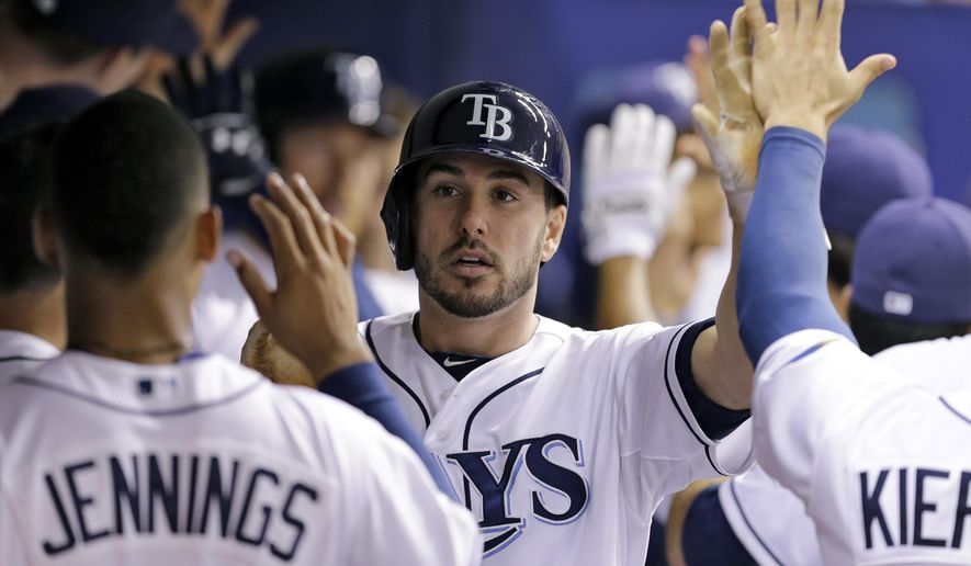 FILE - In this July 28, 2014, file photo, Tampa Bay Rays' Matt Joyce greets teammates after scoring on a two-run double by Tampa Bay Rays' James Loney off Milwaukee Brewers starting pitcher Kyle Lohse during the sixth inning of an interleague baseball game in St. Petersburg, Fla. The Los Angeles Angels have acquired outfielder Joyce from the Tampa Bay Rays in exchange for right-handed reliever Kevin Jepsen. The clubs announced the deal Tuesday, Dec. 16. (AP Photo/Chris O'Meara, File)