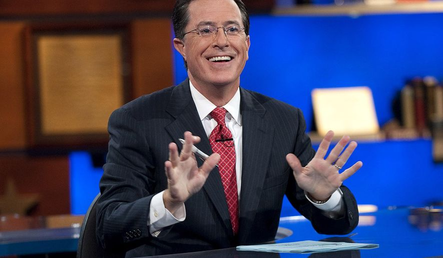 "In this Sept. 8, 2010 photo released by Comedy Central, host Stephen Colbert appears during the ""Been There: Won That: The Returnification of the American-Do Troopscapeon"" special of ""The Colbert Report,"" in New York. ""The Colbert Report"" will end on Thursday, Dec. 18, 2014, after nine seasons. (AP Photo/Comedy Central, Scott Gries)"
