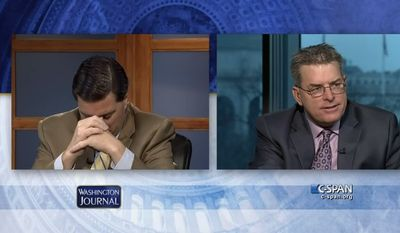 Republican Dallas Woodhouse and his Democratic brother Brad Woodhouse, two pundits, were arguing on a recent Washington Journal television broadcast when their mother called in. (Screengrab from C-SPAN/YouTube)