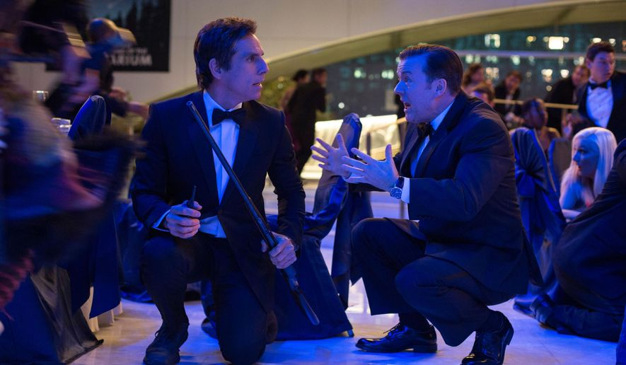 "In this image released by 20th Century Fox shows Ben Stiller, left, and Ricky Gervais in a scene from ""Night at the Museum: Secret of the Tomb."" (AP Photo/20th Century Fox, Joe Lederer)"