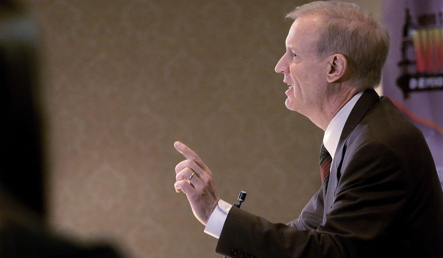Illinois Republican Gov.-elect Bruce Rauner says state agencies plan to ask him for $760 million more than they were originally budgeted in 2015, while speaking during a luncheon Tuesday, Dec. 16, 2014, in Springfield, Ill. Rauner notes his continuing surprise to learn details of a $35.7 billion budget passed by lawmakers in May that didn't allocate enough money to cover agency expenses. (AP Photo/Seth Perlman)