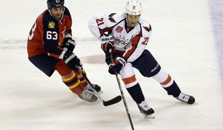 Washington Capitals center Brooks Laich (21) drives as Florida Panthers center Dave Bolland (63) defends during the first period of an NHL hockey game in Sunrise, Fla., Tuesday, Dec. 16, 2014. (AP Photo/Alan Diaz)