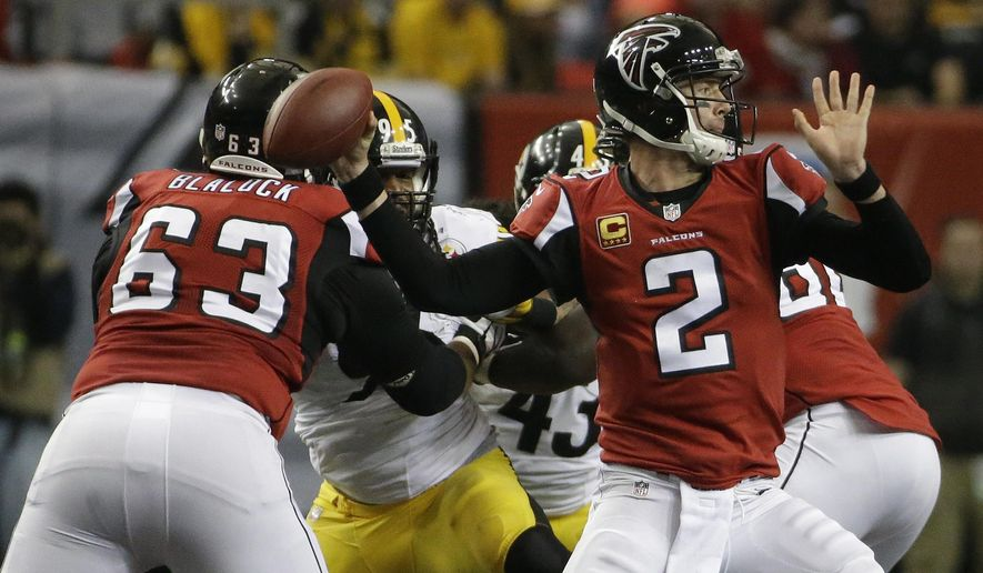 Atlanta Falcons quarterback Matt Ryan (2) passes against the Pittsburgh Steelers during the second half of an NFL football game, Sunday, Dec. 14, 2014, in Atlanta. (AP Photo/David Goldman)