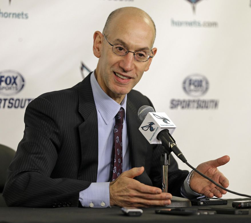 NBA commissioner Adam Silver talks to the media before an NBA basketball game between the Charlotte Hornets and the Phoenix Suns in Charlotte, N.C., Wednesday, Dec. 17, 2014. (AP Photo/Chuck Burton) **FILE**