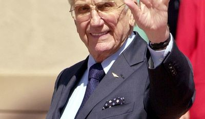"""Ed McMahon hoped to become a United States Marine Corps fighter pilot. Prior to the US entry into World War II, however, both the Army and Navy required two years of college for their pilots program. McMahon enrolled into classes at Boston College and studied there from 1940-41. After Pearl Harbor was attacked, the college requirement was dropped, and McMahon immediately applied for Marine flight training. His primary flight training was in Dallas, followed by fighter training in Pensacola, where he also earned his carrier landing qualifications. He was a Marine Corps flight instructor for two years, finally being ordered to the Pacific fleet in 1945. However, his orders were canceled after the atomic bomb was dropped on Hiroshima and Nagasaki forcing Japan's surrender. As an officer in the reserves, McMahon was recalled to active duty during the Korean War. This time, he flew the OE-1, an unarmed single-engine spotter plane. He functioned as an artillery spotter for the Marine batteries on the ground and as a forward controller for the Navy and Marine fighter bombers. He flew a total of 85 combat missions, earning six Air Medals. After the war, he stayed with the Marines, as a reserve officer, retiring in 1966 as a colonel. In 1982 he received a state commission as a brigadier general in the California Air National Guard, an honorific awarded to recognize his support for the National Guard and Reserves. In this Aug. 27, 2003 file photo, entertainer Ed McMahon waves to the media upon arriving at """"The Bob Hope Memorial Tribute"""" at the Academy of Television Arts and Sciences in the North Hollywood section of Los Angeles. McMahon died, Tuesday, June 23, 2009, at Ronald Reagan UCLA Medical Center surrounded by his wife, Pam, and other family members, said his publicist, Howard Bragman. (AP Photo/Matt Sayles, file)"""