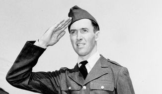 Jimmy Stewart became the first major American movie star to wear a military uniform in World War II. He had a noted military career and was a World War II and Vietnam War veteran who rose to the rank of Brigadier General in the United States Air Force Reserve. (AP Photo) ** FILE **