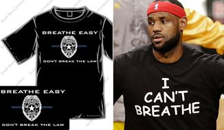"The South Bend Uniform Company is selling shirts with the slogal ""Breath Easy Don't Break The Law"" to show support for law enforcement. (South Bend Uniform Company)"