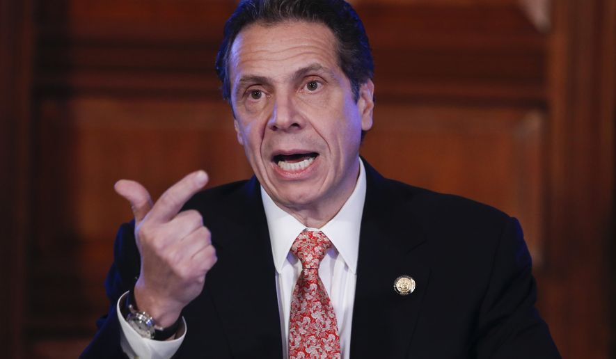 New York Gov. Andrew Cuomo talks casino gaming during a cabinet meeting at the Capitol on Wednesday, Dec. 17, 2014, in Albany, N.Y. An announcement on casino siting in New York will be made this afternoon. (AP Photo/Mike Groll)