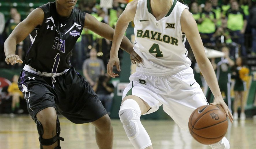 Baylor guard Kristy Wallace (4) gets past Stephen F. Austin's Brittney Matthew (1) while moving the ball upcourt in the second half of an NCAA college basketball game, Sunday, Dec. 14, 2014, in Waco, Texas. Baylor won 96-57. (AP Photo/Tony Gutierrez)