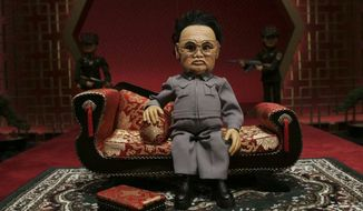 """A still from the 2004 film """"Team America: World Police"""" shows a puppet representing the film's villain, Kim John-il.  (Photofest)"""