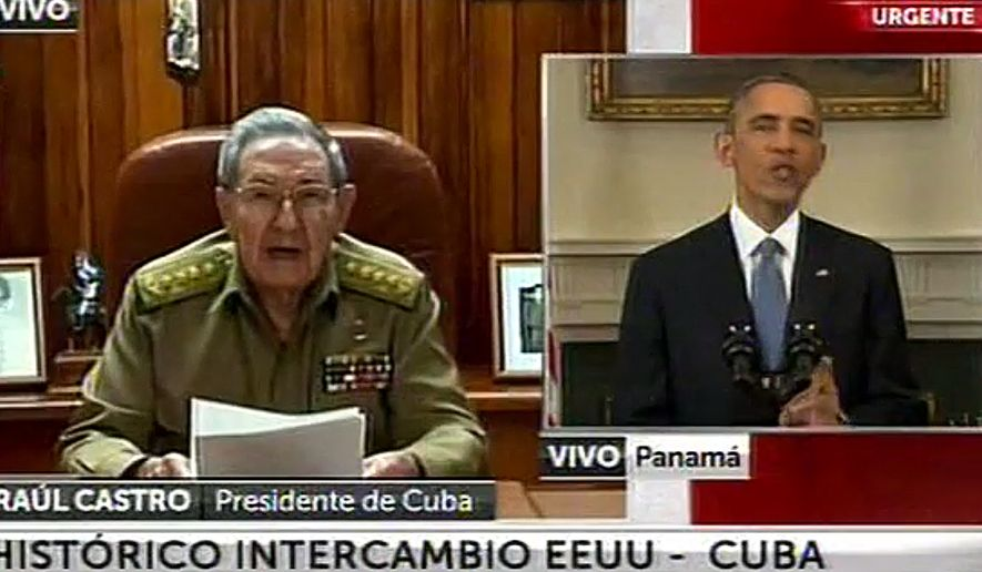 "This screen shot taken from live video from the TN channel shows President Barack Obama, right, and Cuba's President Raul Castro addressing their nations at the same time, from Washington D.C. and Havana, on Wednesday, Dec. 17, 2014. Obama announced the re-establishment of diplomatic relations as well as an easing in economic and travel restrictions on Cuba Wednesday, declaring an end to America's ""outdated approach"" to the island in a historic shift that aims to bring an end to a half-century of Cold War enmity. Castro welcomed restoration of diplomatic ties, saying the two countries would work to resolve their differences ""without renouncing a single one of our principles."" (AP Photo)"