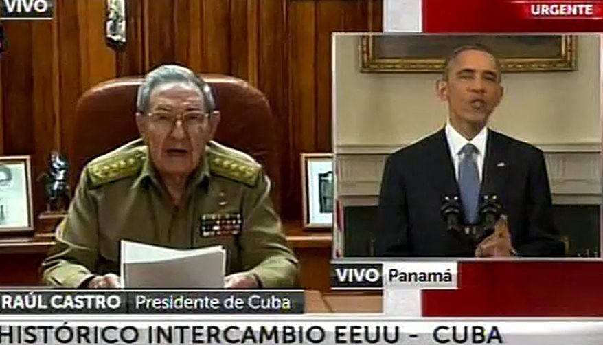 """This screen shot taken from live video from the TN channel shows President Barack Obama, right, and Cuba's President Raul Castro addressing their nations at the same time, from Washington D.C. and Havana, on Wednesday, Dec. 17, 2014. Obama announced the re-establishment of diplomatic relations as well as an easing in economic and travel restrictions on Cuba Wednesday, declaring an end to America's """"outdated approach"""" to the island in a historic shift that aims to bring an end to a half-century of Cold War enmity. Castro welcomed restoration of diplomatic ties, saying the two countries would work to resolve their differences """"without renouncing a single one of our principles."""" (AP Photo)"""