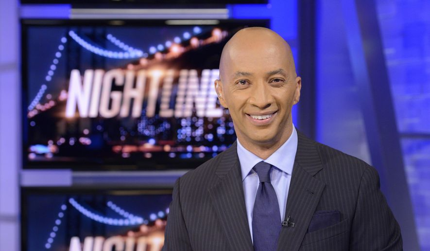 """In this image released by ABC, ABC News' chief national correspondent Byron Pitts appears on the set of """"Nightline,"""" in New York. Pitts will replace Dan Abrams as a co-anchor of """"Nightline,"""" after Thursday's edition of the late-night news program. He joins Dan Harris and Juju Chang on the anchor team. (AP Photo/ABC, Lorenzo Bevilaqua)"""