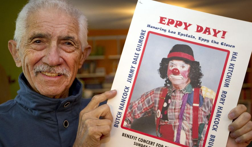 "ADVANCE FOR USE SUNDAY, DEC. 21 - In this photo taken on Dec. 10, 2014, Lee Epstein, who has led a full life with part of it being ""Eppy the Clown"" entertaining people, poses for a photo in his home town of Wimberley, Texas. Recent health issues has led he and his wife Sandi to move back to New York to be closer to family. In appreciation for his volunteer work, the community and friends held a benefit in his honor to raise money for expenses.  (AP Photo/Austin American-Statesman, Ralph Barrera)  AUSTIN CHRONICLE OUT, COMMUNITY IMPACT OUT, INTERNET AND TV MUST CREDIT PHOTOGRAPHER AND STATESMAN.COM, MAGS OUT"