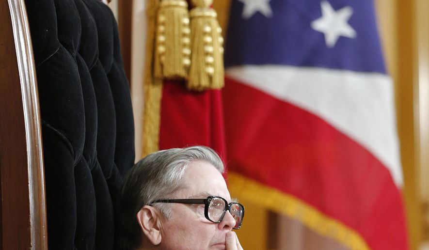 House Speaker William Batchelder leads his final house session on Wednesday, Dec. 17, 2014.  Batchelder is coming to the end of a 38 year long legislative career.   (AP Photo/The Columbus Dispatch, Chris Russell)