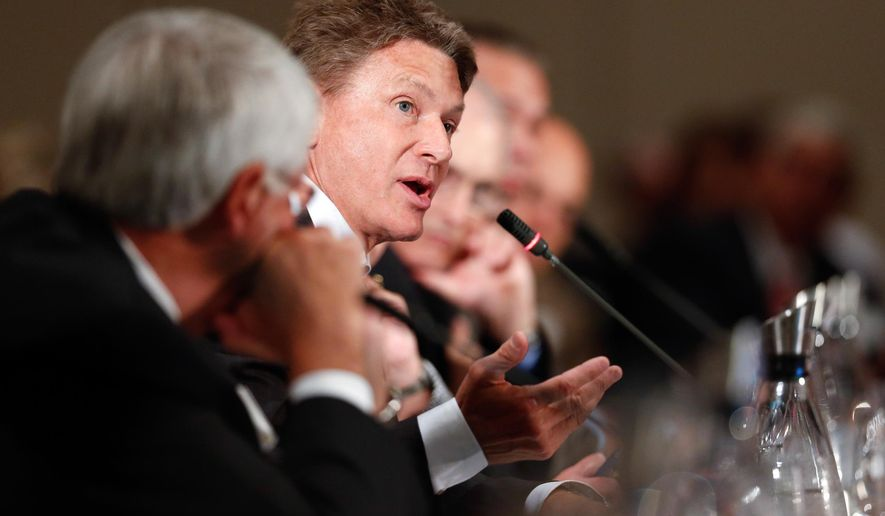FILE - In this Sept. 18, 2014, file photo, Randy Boyd, center speaks at an education summit called by Tennessee Gov. Bill Haslam in Nashville, Tenn. Gov. Haslam named Boyd as his new commissioner of economic and community development on Thursday, Dec. 18, 2014. (AP Photo/Mark Humphrey, File)