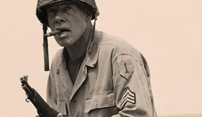 "Lee Marvin left school to enlist in the United States Marine Corps August 1942, serving with the 4th Marine Division in the Pacific Theater. He was wounded in action during the World War II Battle of Saipan, in the assault on Mount Tapochau, during which most of his unit (""I"" Company, 24th Marines, 4th Marine Division) were killed. His injury was from machine gun fire, which severed his sciatic nerve. Marvin was awarded the Purple Heart and was given a medical discharge with the rank of Private First Class in 1945 at Philadelphia. Marvin's awards were the Purple Heart, the Presidential Unit Citation, the Asiatic-Pacific Campaign Medal and the World War II Victory Medal. Contrary to rumors, Marvin did not serve with producer and actor Bob Keeshan (later best known as Captain Kangaroo) during World War II.  Marvin left school to enlist in the United States Marine Corps, serving with the 4th Marine Division in the Pacific Theater. He was wounded in action during the World War II Battle of Saipan, in the assault on Mount Tapochau, during which most of his unit (""I"" Company, 24th Marines, 4th Marine Division) were killed. His injury was from machine gun fire, which severed his sciatic nerve. Marvin was awarded the Purple Heart and was given a medical discharge with the rank of Private First Class in 1945 at Philadelphia. Marvin's awards were the Purple Heart, the Presidential Unit Citation, the Asiatic-Pacific Campaign Medal and the World War II Victory Medal. Contrary to rumors, Marvin did not serve with producer and actor Bob Keeshan (later best known as Captain Kangaroo) during World War II. Lee Marvin, the academy award winning actor during filming of ""The Big Red One"" July 1978. In the film which is directed by Samuel Fuller, Marvin plays the roll of a Sgt. In the U.S.Army's 1st infantry division, nicknamed the ""Big Red One."" The movie is being filmed in Natanya, Israel. (AP Photo/Max Nash)"