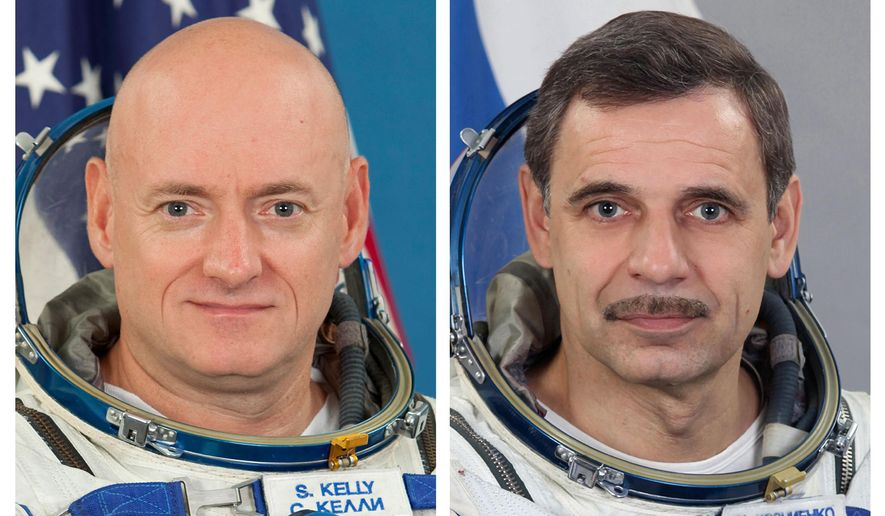 This photo combo provided by the Gagarin Cosmonaut Training Center via NASA, shows NASA astronaut Scott Kelly and Russian cosmonaut Mikhail Kornienko. Kelly and Kornienko will rocket into orbit from Kazakhstan in March, 2015. They will spend a year aboard the International Space Station. At a news conference Thursday, Dec. 18, 2014,  at UNESCO headquarters in Paris, Kelly and Kornienko said they anticipate many scientific gains from their mission. (AP Photo/Gagarin Cosmonaut Training Center via NASA)
