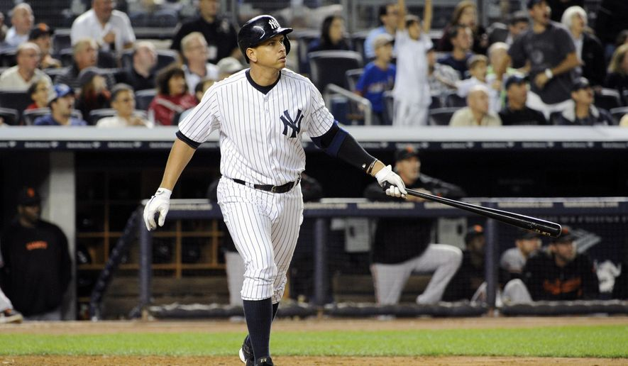 """FILE - In this Sept. 20, 2013, file photo, New York Yankees' Alex Rodriguez watches his grand slam home run during the seventh inning of an interleague baseball game against the San Francisco Giants at Yankee Stadium in New York. Yankees general manager Brian Cashman says Rodriguez's days as an everyday fielder are over and he hopes A-Rod will be New York's fulltime designated hitter.  Cashman said during a telephone interview with The Associated Press on Tuesday, Dec. 16, 2014,  that """"I can't expect Alex to be anything.""""(AP Photo/Bill Kostroun, File)"""