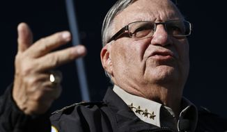 FILE-This Jan.9, 2013 file photo shows Maricopa County Sheriff Joe Arpaio speaking with the media in Phoenix. Arpaio known for arresting hundreds of immigrants in the country illegally on charges of finding work using fake or stolen identities is planning to close the controversial squad that investigates such cases. Arpaio's decision to disband the criminal employment squad will end his last major foothold in immigration enforcement after the courts and federal government have gradually reined in his powers in recent years. (AP Photo/Ross D. Franklin,File)