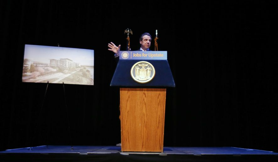 New York Gov. Andrew Cuomo speaks during a casino license celebration at Proctor's Theatre on  Thursday, Dec. 18, 2014, in Schenectady, N.Y. Rivers Casino and Resort at Mohawk Harbor on Wednesday was recommended by the state's Gaming Facility Location Board for a Capital Region casino license. Cuomo will visit the three upstate New York counties selected for new casinos by the state's Gaming Facility Location Board. (AP Photo/Mike Groll)