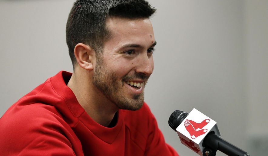 Newly acquired Boston Red Sox baseball pitcher Rick Porcello speaks at an introductory news conference at Fenway Park in Boston, Friday, Dec. 19, 2014. (AP Photo/Elise Amendola)