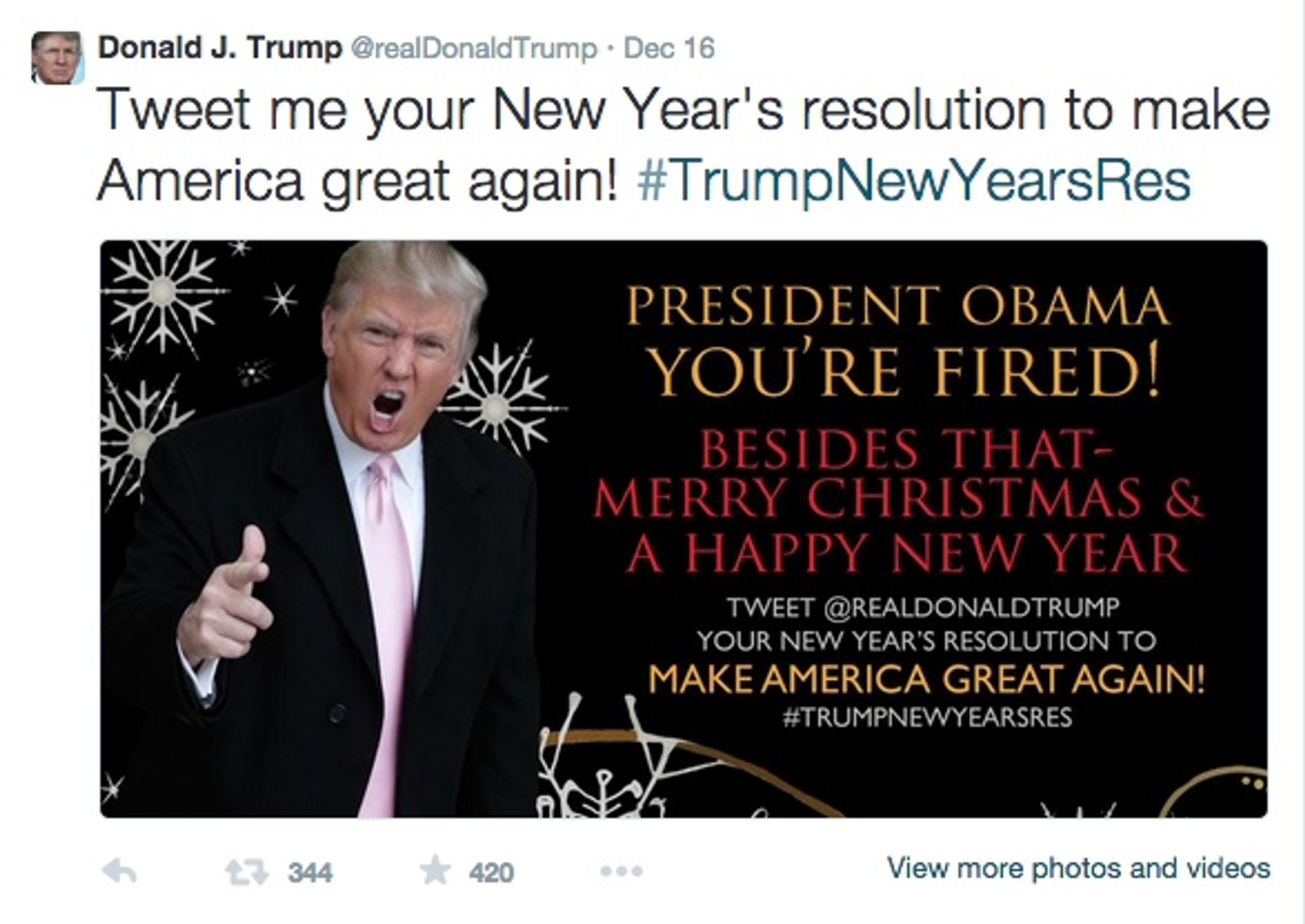 Donald Trump\'s Christmas card: \'President Obama, you\'re fired ...
