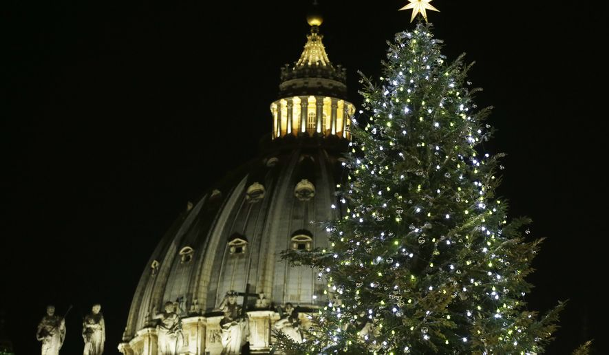 The 83.66 ft, 70-year old Christmas tree is lit in St. Peter's square at the Vatican, Friday, Dec. 19, 2014. (AP Photo/Gregorio Borgia)