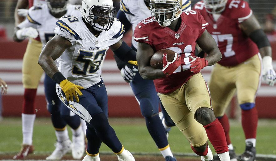 San Francisco 49ers running back Frank Gore (21) runs past San Diego Chargers inside linebacker Kavell Conner (53) during the first quarter of an NFL football game in Santa Clara, Calif., Saturday, Dec. 20, 2014. (AP Photo/Marcio Jose Sanchez)