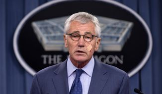 Defense Secretary Chuck Hagel speaks during a news conference at the Pentagon, Friday, Nov. 14, 2014, where he announced that he is ordering top-to-bottom changes in how the nation's nuclear arsenal is managed, vowing to invest billions of dollars more to fix what ails a force beset by leadership lapses, security flaws and sagging morale. (AP Photo/Evan Vucci)