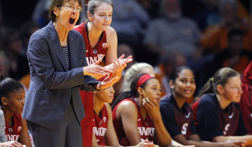 Stanford head coach Tara VanDerveer yells to her players in the first half of an NCAA college basketball game against Tennessee Saturday, Dec. 20, 2014, in Knoxville, Tenn. (AP Photo/Wade Payne)