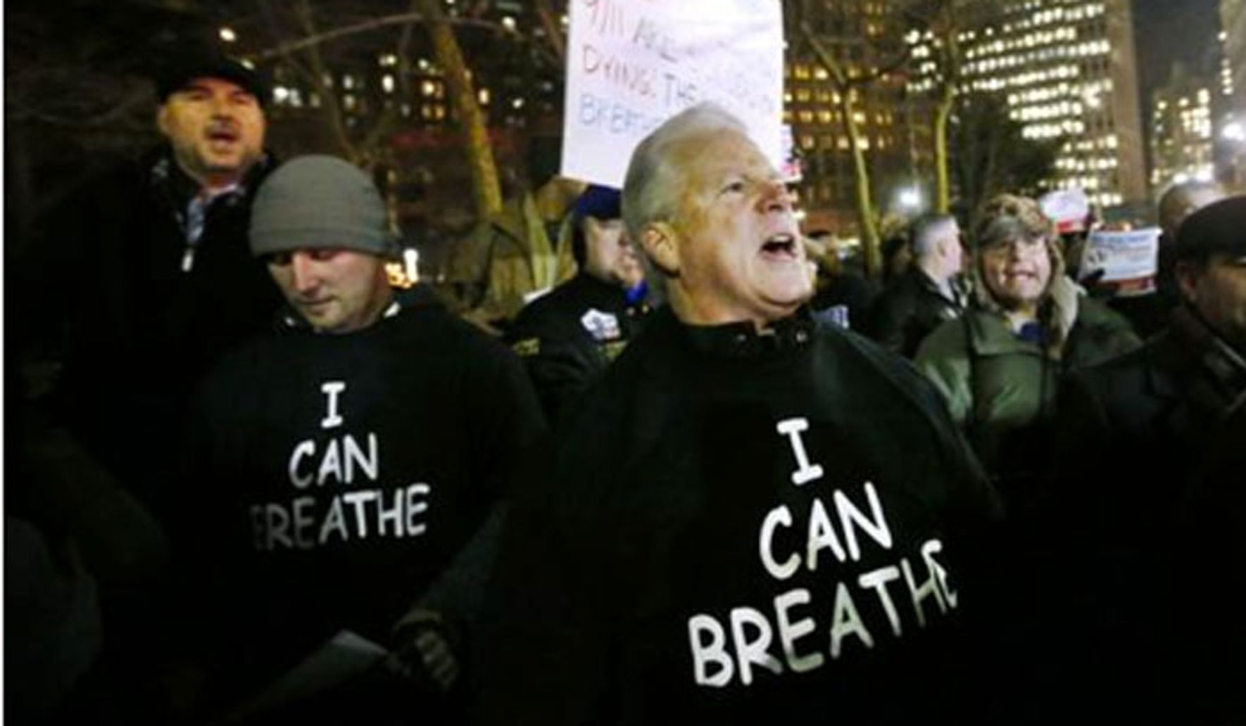 I can breathe - thanks to the NYPD' shirts flood pro-police NYC