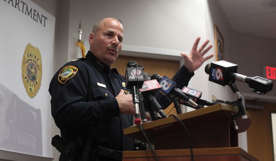 Tarpon Springs Police Department Chief Robert Kochen  speaks during a news conference regarding the police shooting in Tarpon Springs, Fla. on Sunday, Dec. 21, 2014. The Tarpon Springs Police Department identified the fallen officer as 45-year-old Charles Kondek, a 17-year veteran of the local police department. Originally from New York, Kondek had previously served on the New York City Police Department for more than five years, authorities said. (AP Photo/Tampa Bay Times, Monica Herndon)