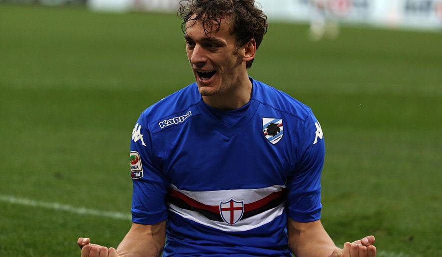 Sampdoria forward Manolo Gabbiadini celebrates after scoring during a Serie A soccer match between Sampdoria and Udinese, in Genoa, Italy, Sunday, Dec. 21, 2014. (AP Photo/Carlo Baroncini)