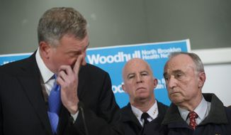 Some Republicans are blaming New York Mayor Bill de Blasio (left) for creating an anti-cop atmosphere that may have indirectly led to the slaying of two police officers over the weekend.  (AP Photo/John Minchillo)