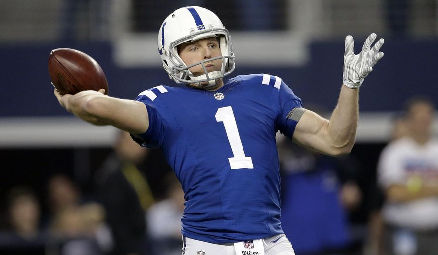 Indianapolis Colts punter Pat McAfee (1) prepares to throw a pass on a fake punt play that was dropped by intended receiver Dewey McDonald during the first half of an NFL football game against the Dallas Cowboys, Sunday, Dec. 21, 2014, in Arlington, Texas. (AP Photo/Tim Sharp)