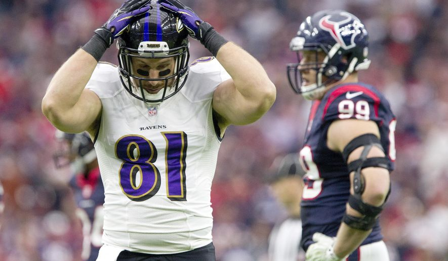 Baltimore Ravens tight end Owen Daniels reacts after being called for offensive pass interference during an NFL football game against the Houston Texans, Sunday, Dec. 21, 2014, in Houston. (AP Photo/Conroe Courier, Jason Fochtman)