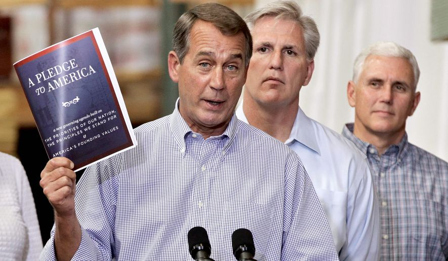 """House Majority Leader John A. Boehner is under fire from critics for breaking his party's """"Pledge to America."""" (Associated Press)"""