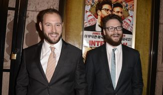 "In this Dec. 11, 2014, file photo, actor Seth Rogen, right, and director Evan Goldberg attend the premiere of the feature film ""The Interview"" in Los Angeles. (Photo by Dan Steinberg/Invision/AP Images, File)"