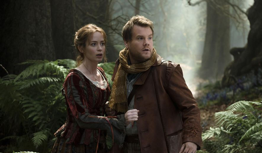 "In this image released by Disney Enterprises, Inc., Emily Blunt, left, and James Corden star as a baker and his wife who wish to start a family in a scene from ""Into the Woods.""  (AP Photo/Disney Enterprises, Inc., Peter Mountain)"