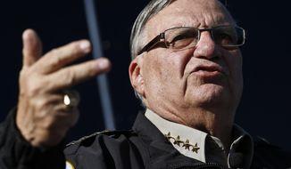 In this Jan. 9, 2013 file photo, Maricopa County, Ariz., Sheriff Joe Arpaio speaks in Phoenix. (AP Photo/Ross D. Franklin, File)