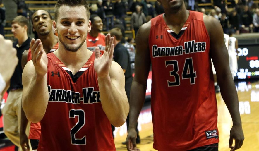 Tyler Strange of Gardner-Webb celebrates his teams 89-84 victory over Purdue in an NCAA college basketball game Monday, Dec. 22, 2014, in West Lafayette, Ind. (AP Photo/Journal & Courier, John Terhune)